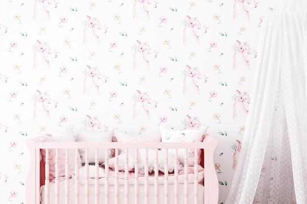 Blank wall mockup nursery