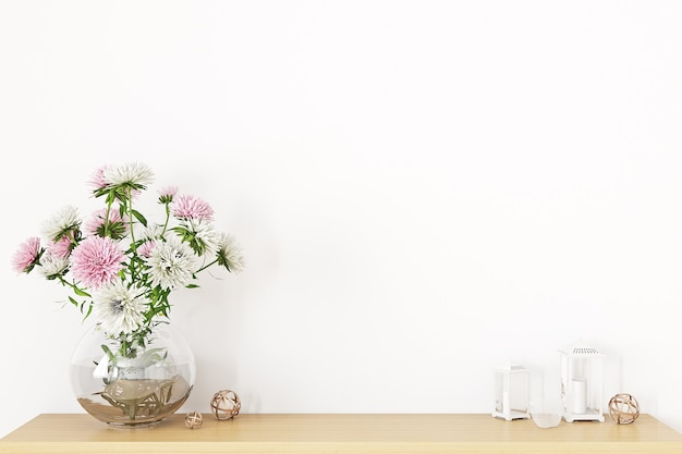 Blank wall mockup with a bouquet of flowers