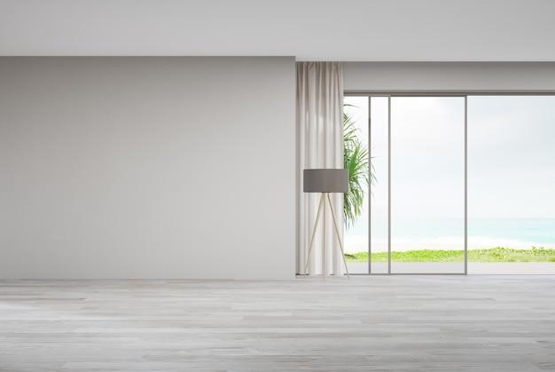 Глухая стена на пустом деревянном полу большой гостиной в современном доме или роскошной вилле