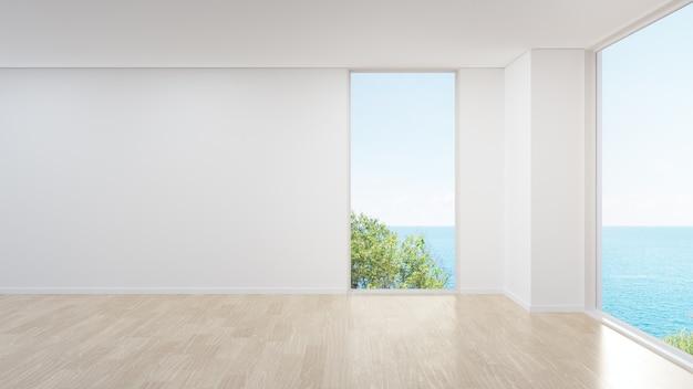 Глухая стена на пустом деревянном полу большой гостиной в современном доме.