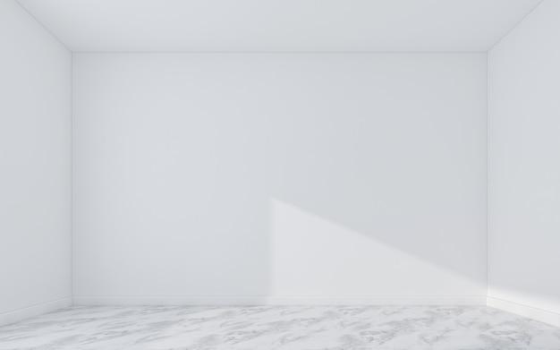대리석 바닥에 빈 벽입니다. 3d 렌더링