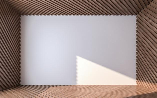 나무 바닥과 천장에 빈 벽입니다. 3d 렌더링