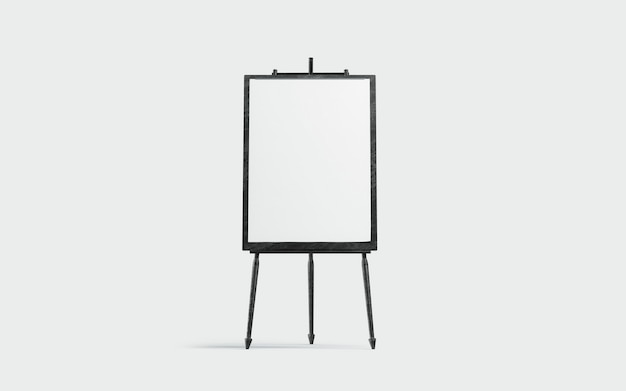 Blank white a3 canvas display on black board , isolated