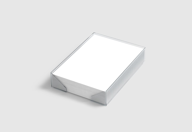 Blank white a4 paper pile in plastic holder