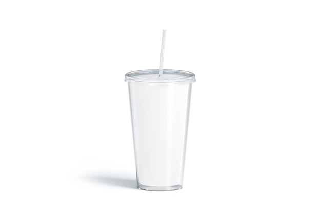 ストロー、分離、3dレンダリングと空白の白いアクリルタンブラー。パイプ付きの空のプラスチックフラスコ。コーヒーやビール用のクリアカップ。冷たい飲み物のためのガラスの使い捨てボトル