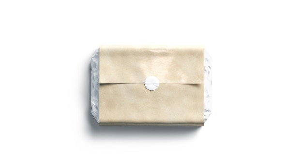 Пустая белая клейкая круглая наклейка на крафт-упаковочной бумаге, 3d-рендеринг. доставка пустой крафт из почтового отделения, вид сверху. прозрачный роскошный бокс с шаблоном клейкой бирки.