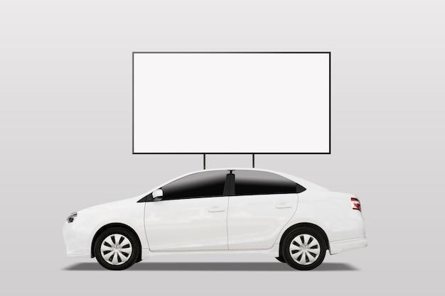 Blank white advertising banner sign on car roof