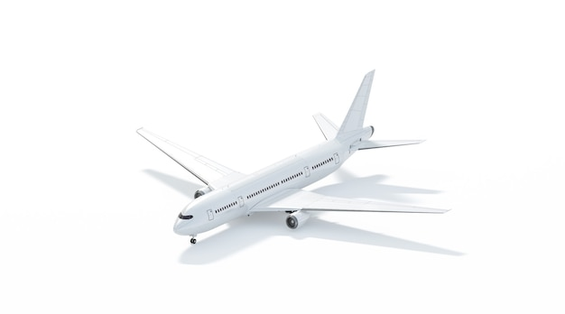 Blank white airplane mockup stand side view isolated clear plain air transport projected mock up
