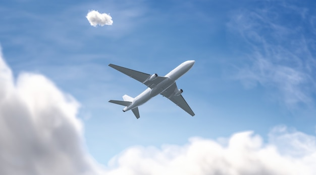 Blank white airplane in the sky, bottom view, 3d rendering.