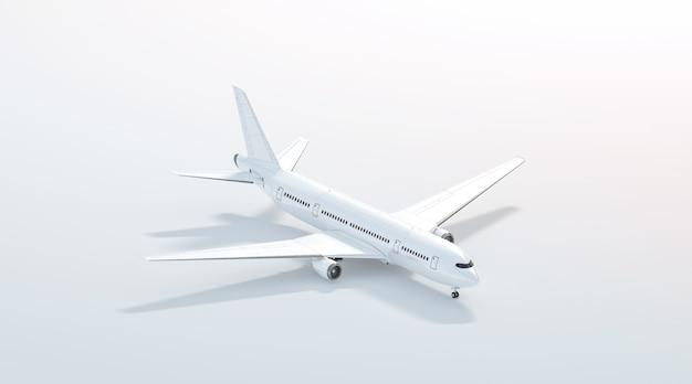 空白の白い飛行機スタンド、分離された側面図、3dレンダリング。クリアプレーン飛行機アイソメテンプレート。ロゴデザインのブランディングのための空のavia飛行機モデル。