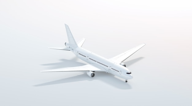 Blank white airplane  stand, side view isolated, 3d rendering. clear plain air plane isometric  template. empty avia aeroplane model for logo design branding.
