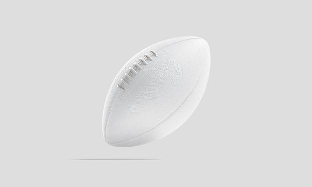 빈 흰색 미국 축구 공은 무중력을 조롱합니다. 터치다운 목표 모형을 위한 빈 던지기 럭비 공