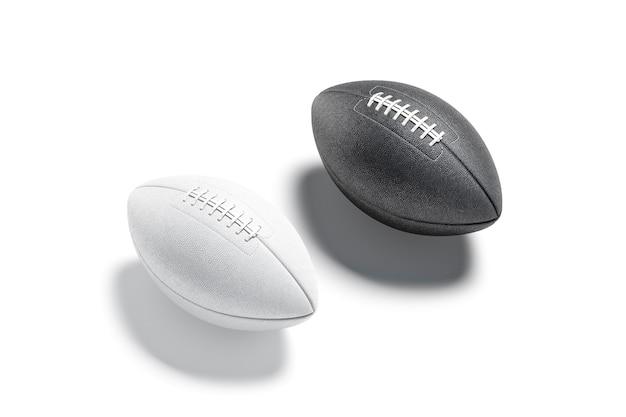 空白の白いアメリカのサッカーボールのモックアップアメリカの試合のモックアップ分離のためのレースと空の革の楕円形