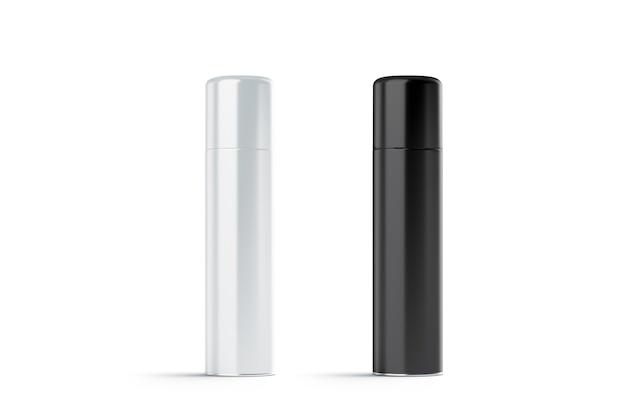 빈 흰색과 검은 색 닫힌 헤어 스프레이 병 모형 세트