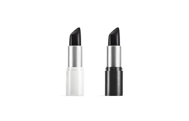어두운 립스틱 모형이 있는 빈 흰색 및 검은색 열린 튜브 포마텀이 있는 빈 금속 상자