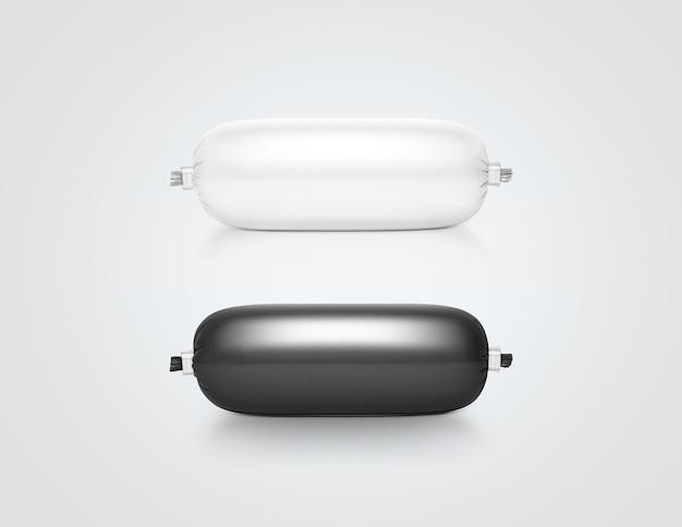 Пустой белый и черный пластиковый пакет пасты дизайн изолированные