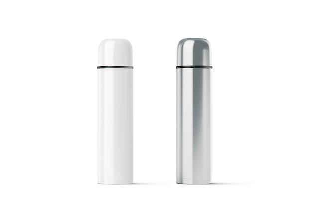 Пустой белый и стальной закрытый макет термоса