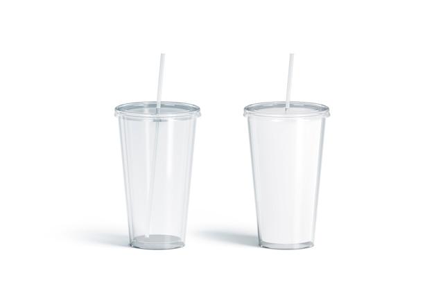 Пустой белый и прозрачный акриловый стакан с полупрозрачным соломенным макетом и макет матовой фляжки