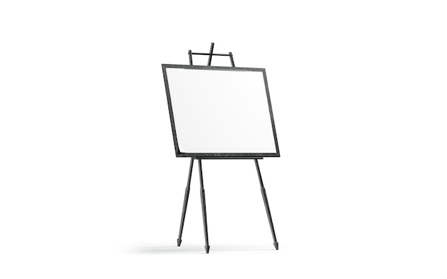Blank white art canvas stand on black wooden easel