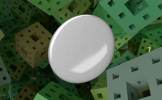 Distintivo bianco in bianco su fondo quadrato astratto