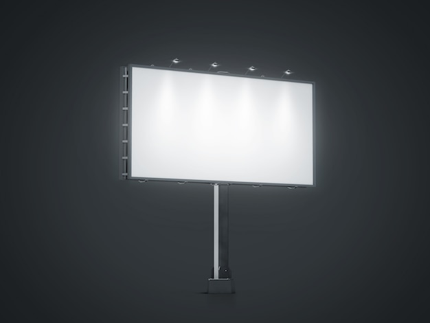 Blank white banner mock up on city billboard at night