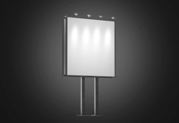 Пустой белый баннер макет на квадратном городском рекламном щите ночью