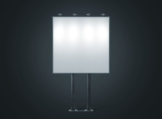 Макет пустой белый баннер на квадратном городском рекламном щите ночью