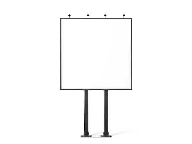 Пустой белый баннер на черном рекламном щите городской площади