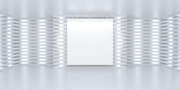 Пустой белый баннер плакат на стене в ярком освещенном интерьере 3d сценический фон