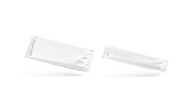 空白の白い大小のチョコレートバーホイルラップモックアップ空のデザートパッケージモックアップ分離