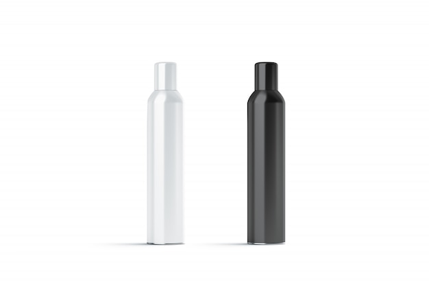 Blank white and black closed hairspray bottle