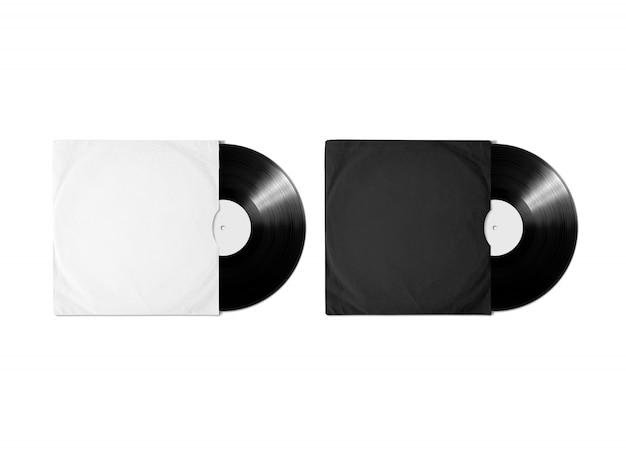 Blank white black vinyl album cover sleeve