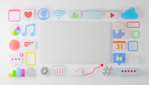 소셜 미디어, 비즈니스 마케팅 및 iot 앱 아이콘이있는 빈 화이트 보드. 3d 렌더링