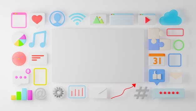 Blank white board with social media, business marketing and iot app icon. 3d rendering