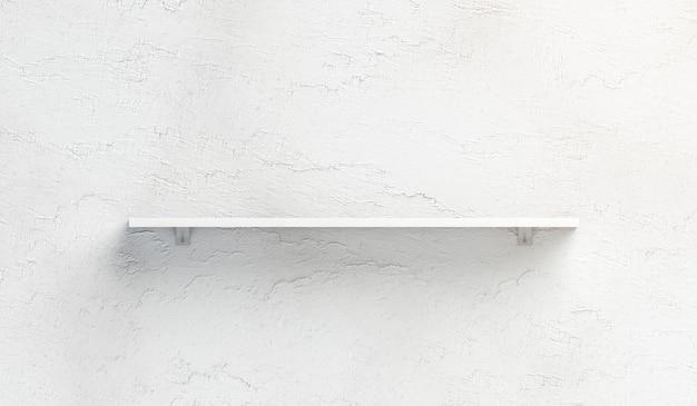 Blank white book shelf mounted on wall