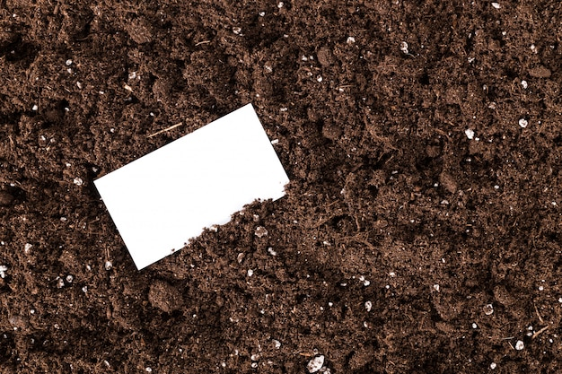 Blank white business card on a soil ground compost