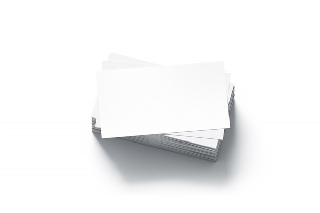 Blank white business cards stack mock up