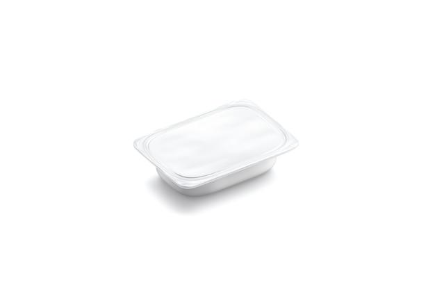 空白の白いバターボックスのモックアップ分離チーズまたはヨーグルトのモックアップ用の空のプラスチック容器
