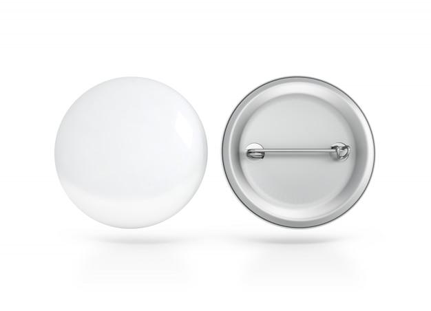빈 흰색 버튼 배지, 앞면과 뒷면