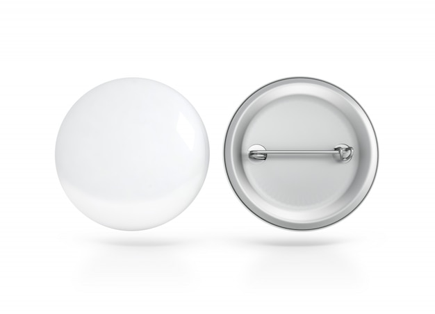 Blank white button badge , front and back side