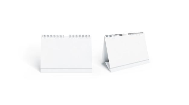 빈 흰색 달력 전면 및 측면보기 세트를 모의