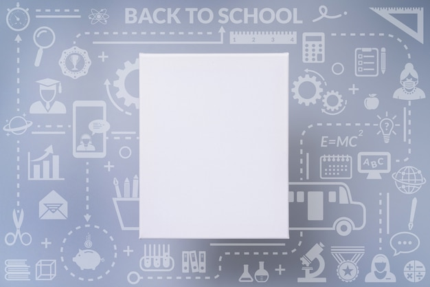 Blank white canvas frame on back to school icon infographic design