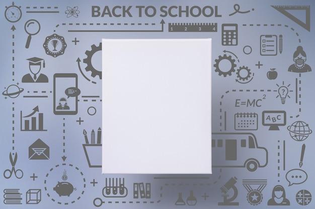 학교 아이콘 infographic 디자인에 다시 빈 흰색 캔버스 프레임
