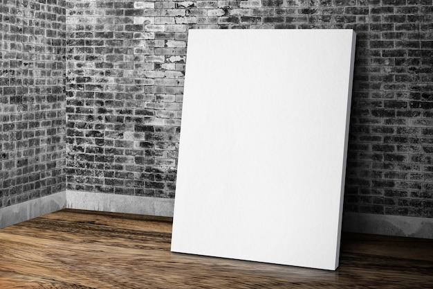 Blank white canvas frame