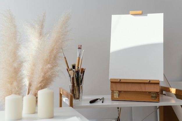 Blank white canvas for painting