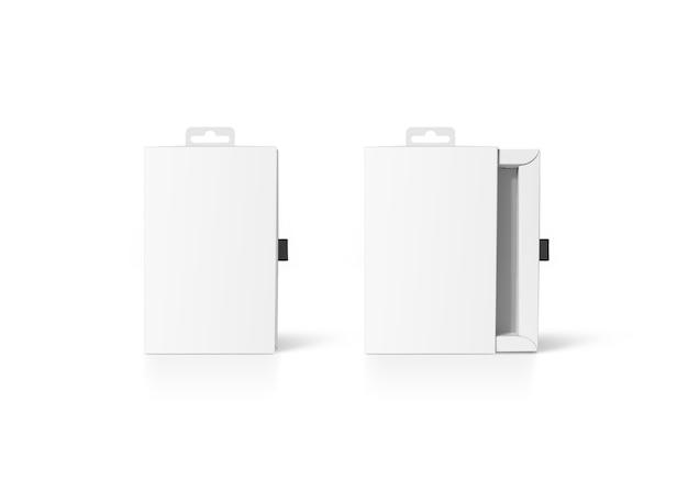 Пустой белый картонный макет коробки для аксессуаров закрыт и открыт