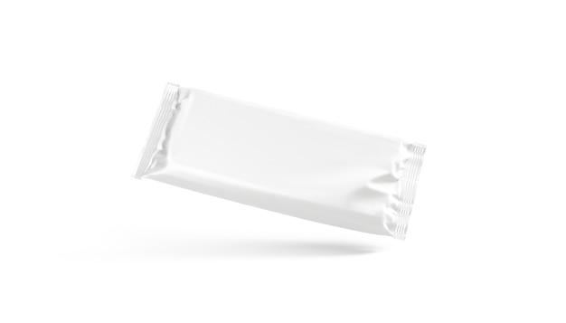 空白の白いチョコレートバーホイルラップモックアップラベル包装モックアップの空のスリムな長方形のブロック