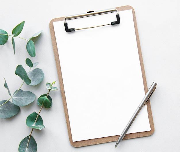 Blank white clipboard and eucalyptus