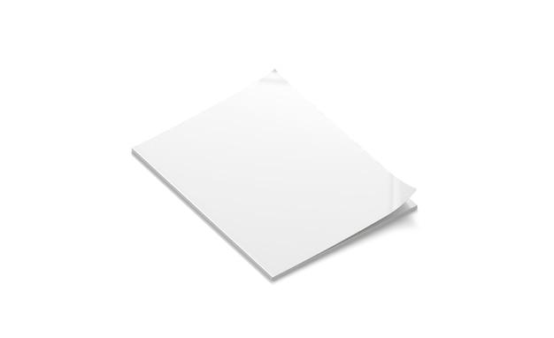 空白の白い閉じた雑誌のモックアップは、白いジャーナルまたはパンフレットのソフトカバーのモックアップ嘘を分離しました