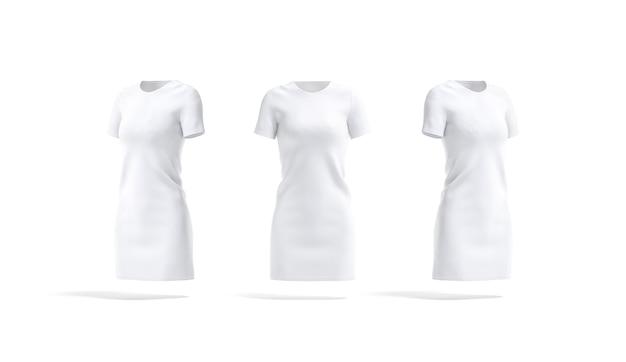空白の白い布のドレスのモックアップの前面と側面空の女性の綿の長いtシャツまたはフロックのモックアップ